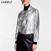 CHBBLF women stylish silver short jackets shiny moto biker style coat ladies outerwear casual chic tops CDC8799