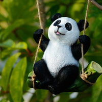 1pc Animal Garden Statue Funny Indoor Outdoor Swing Panda Ornaments Decor Sculpture for Patio House Lawn