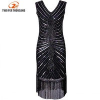 Women 1920s Diamond Sequined Embellished Fringed Great Gatsby Flapper Dress Sleeveless Retro Midi Party Dress Ukraine