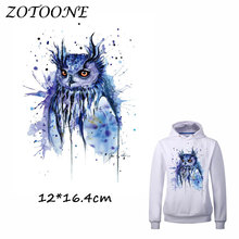 ZOTOONE Iron on Patches for Clothes Heat Transfer Watercolor Owl Patch A-level T Shirt Stickers DIY Accessory Applique Kids