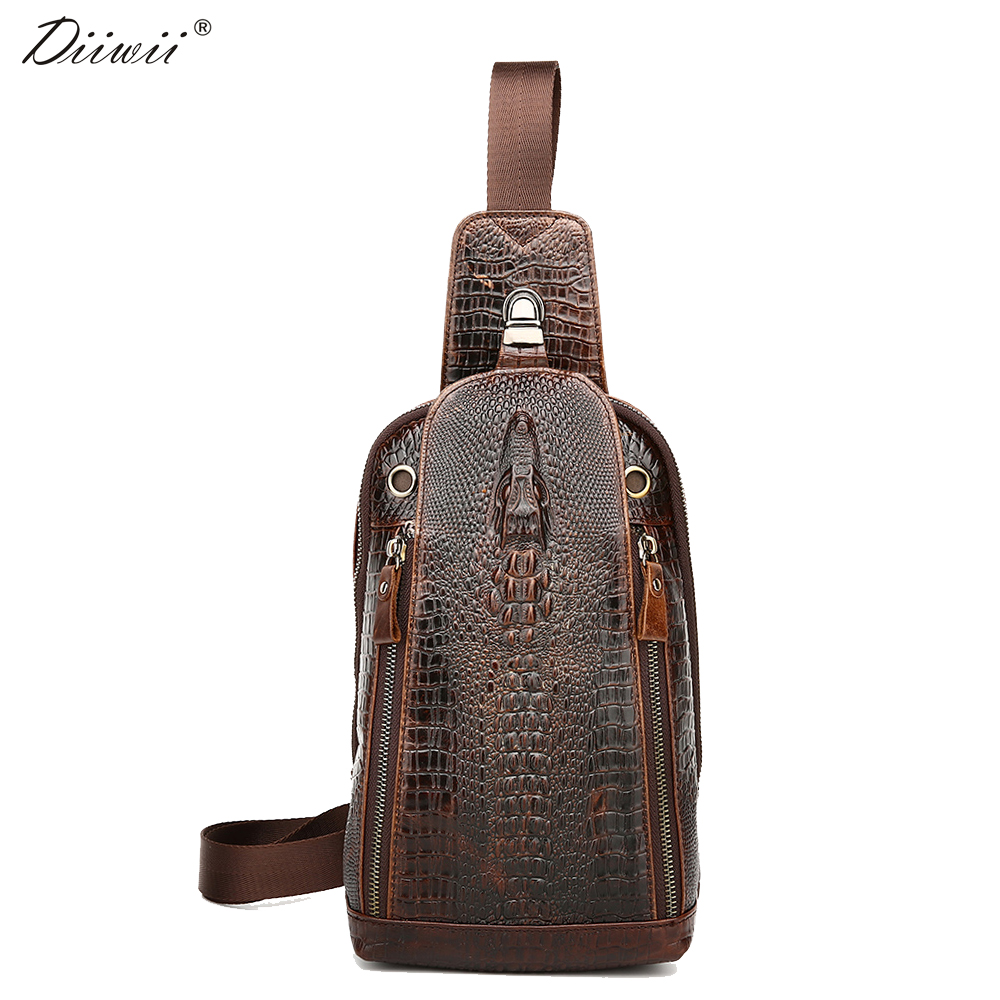 ФОТО Diiwii 2017 Fashion Genuine Leather Chest Pack Alligator Pattern Crossbody chest bag casual small shoulder bag for male man bag