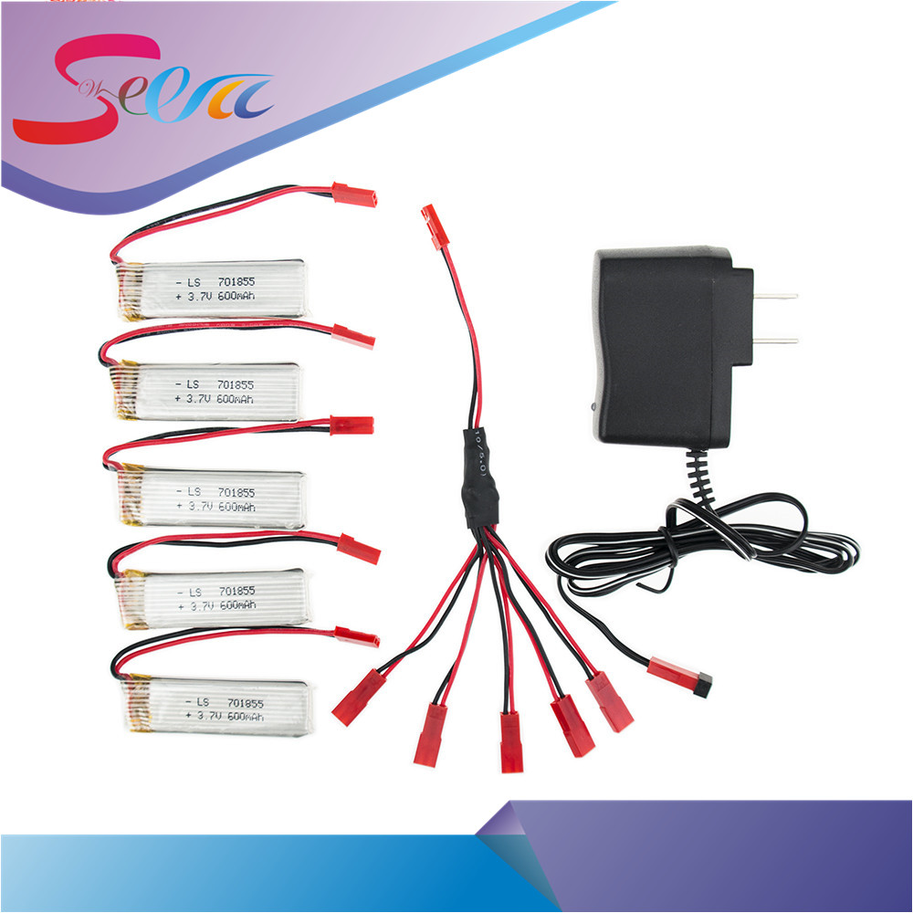 5pcs Lipo 3.7V 600mah battery and charger for UDI u817 u817a u817c u818a syma s032 rc Airplane drone Part wholesale four axis aircraft lithium battery accessories for udi u842 u842 1 u818s helicopter 3pcs battery and 6 in 1 charger