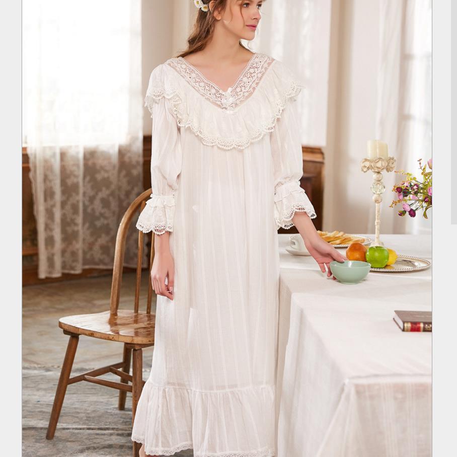 db19a05aa Nightgowns Sleepshirt White Lace Sleepwear Vintage Nightdress Indoor  Clothing Nightwear Solid Nightgown Female Home Dress gx467-in Nightgowns    Sleepshirts ...