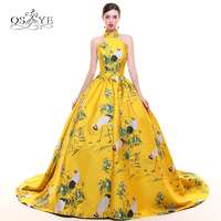 New Arrival 3D Floral Print Long Prom Dress Formal Evening Dress High Neck Embroidery Satin Open Back Formal Evening Gowns