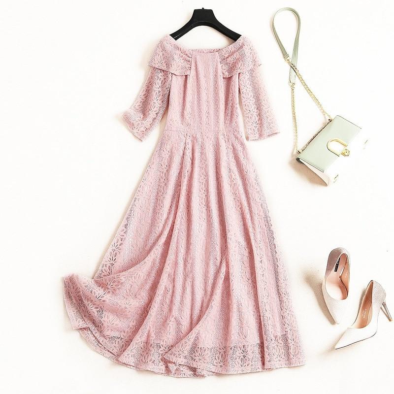Shuchan Sweet Off The Shoulder Dress Slash Neck Bow Pink Blue Summer Vestidos Designer Women Dresses 2019 High Quality 10660