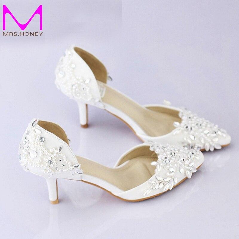cheap pointed toe wedding shoe comfortable middle heel bridal wedding