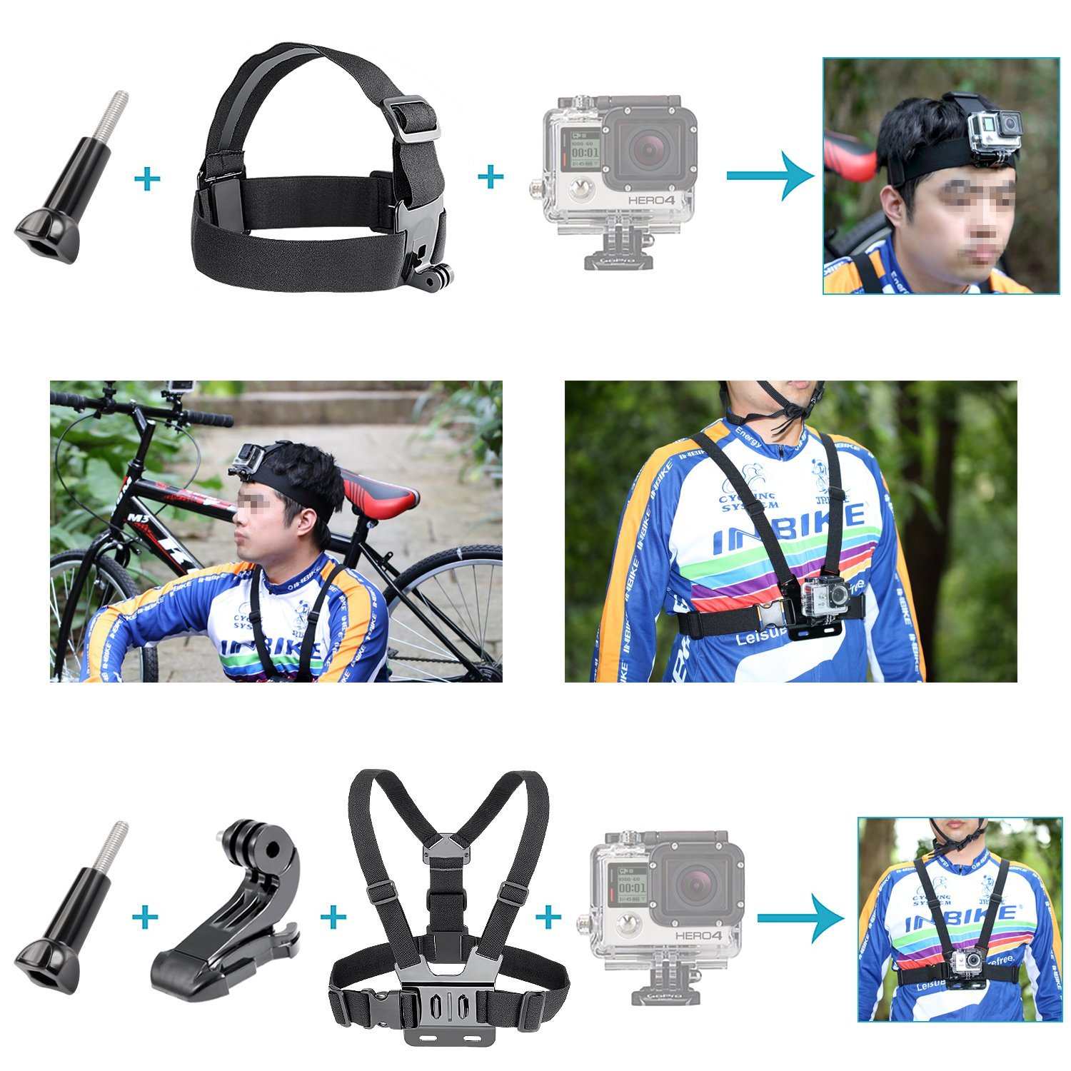 ETC-24-in-1 Sport Accessory Kit for GoPro Hero4 Session Hero Series for Xiaomi Yi in Skiing Climbing Bike Camping Diving and etc