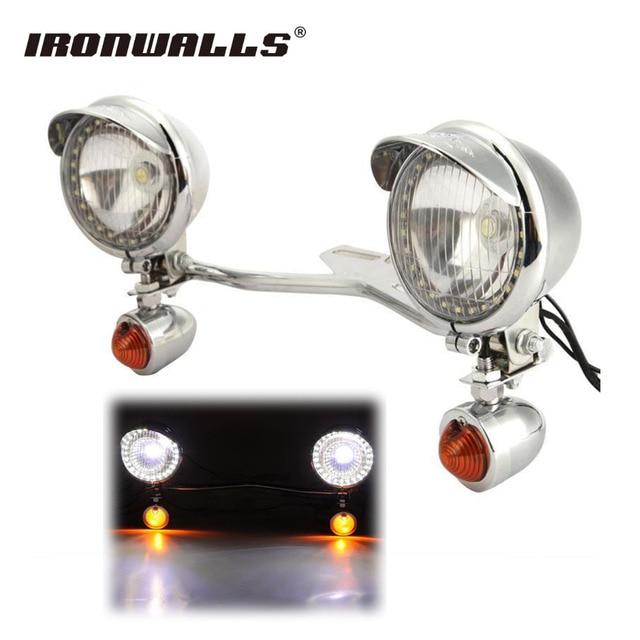 Ironwalls Chrome Motorrad Led scheinwerfer Kit Vorbei Blinker Licht ...