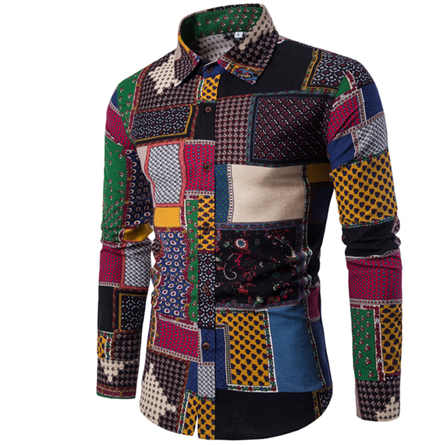 Clothing Fashion Male Shirt Flax Dress Shirts Slim Fit Turn-Down Men Long Sleeve Shirt Mens Hawaiian Shirt Big Sizes
