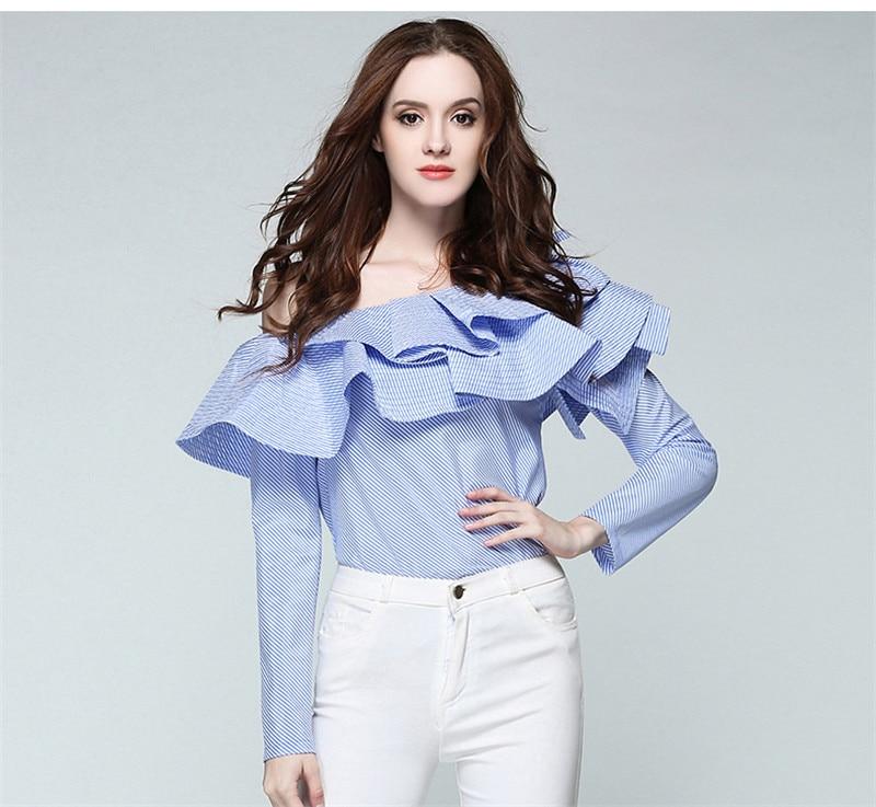 2018 Spring Summer Fashion Shirt Long Sleeve Women Casual Slim OL Blouse Striped One Shoulder Ruffled Shirts Tops Elegant Blousa