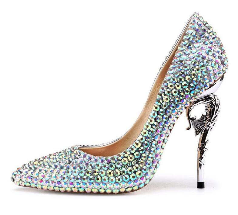 Mariage Femmes Cristal 5cm 11 2018 Pointu Pompes En Hauts Mariée Femme Nouveau Chaussures Cendrillon De Talons 11 Cm Talon Bout 11cm Strass wTY1Z