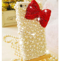 XINGDUO Fiocco Rosso Cristalli Gemme Delle Perle di Caso Per Il Iphone 7 6 6 S Più 5 S 5C Samsung Galaxy Note 7 5 4 3 2 Bordo Più S3 S4 S5 S6 S7