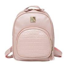 2018 рюкзаки женские мини женская сумка из кожи крокодила рюкзак женский  сплошной цвет Bookbag Mochila подарок 67c5af202db