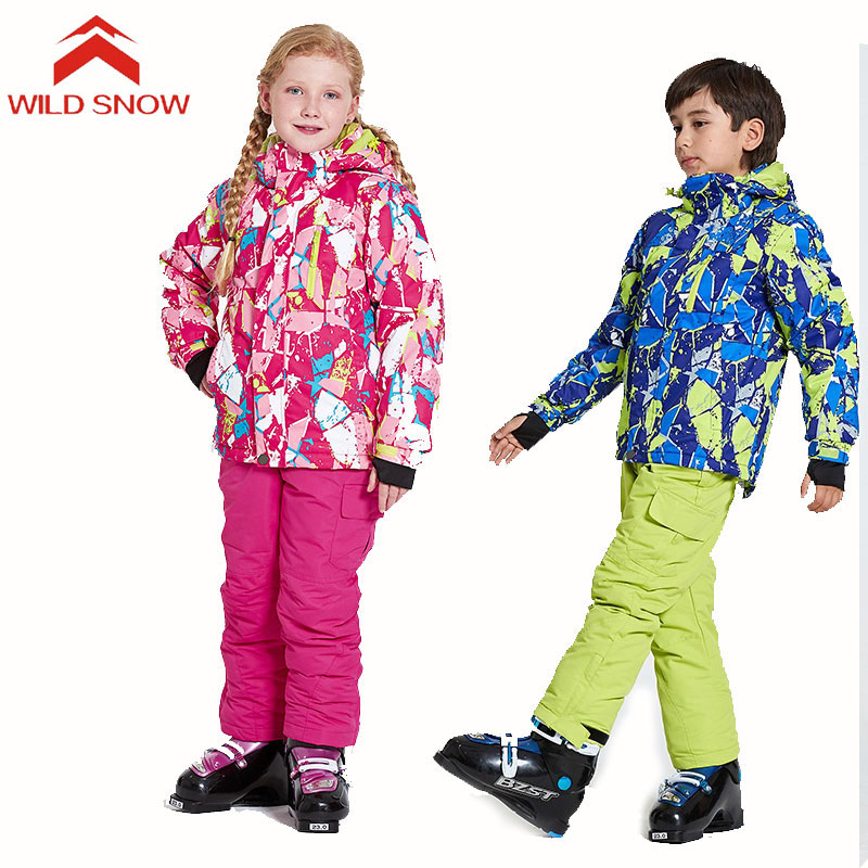 WILD SNOW New Kids Ski Suit Waterproof Windproof Ski Jacket and Pants Set Boy Girls Snow Clothes Children's Snowboard Ski Suits
