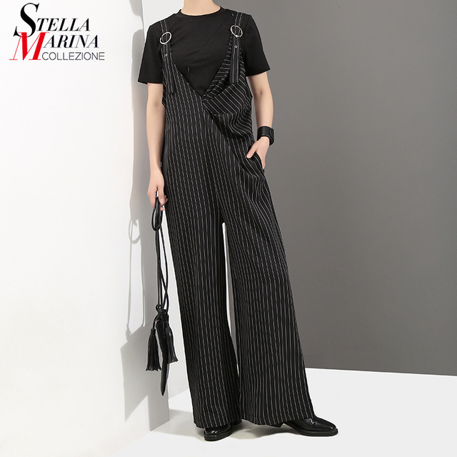 d04f6bb7bd8a 2018 Korean Style Women Black Striped Jumpsuit Romper Overalls Full Length  Wide Leg Suspenders Female Casual Straps Pants 3551