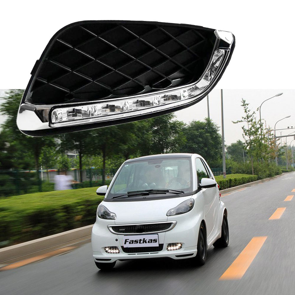 Car Flashing Chrome DRL Daytime Running Lights For Mercedes Benz Smart fortwo 2008 2009 2010 2011 LED Daylight Signal lamp drl daytime running lights for mercedes benz w164 gl320 gl350 gl420 gl450 gl550 2006 2007 2008 2009 led daylight signal light