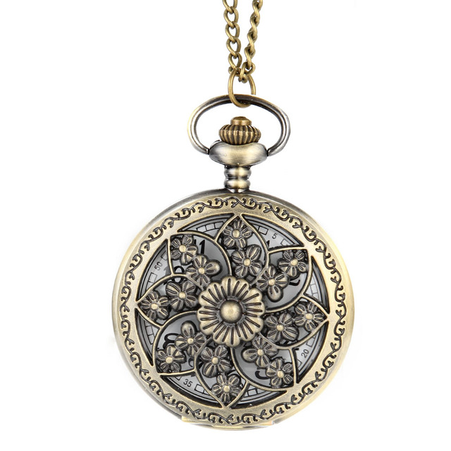 Vintage Steampunk Hollow Flower Quartz Pocket Watch Necklace Pendant Chain Clock