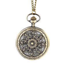 Vintage Steampunk Hollow Flower Quartz Pocket Watch Necklace Pendant Chain Clock 11 Style Optional Gifts LXH