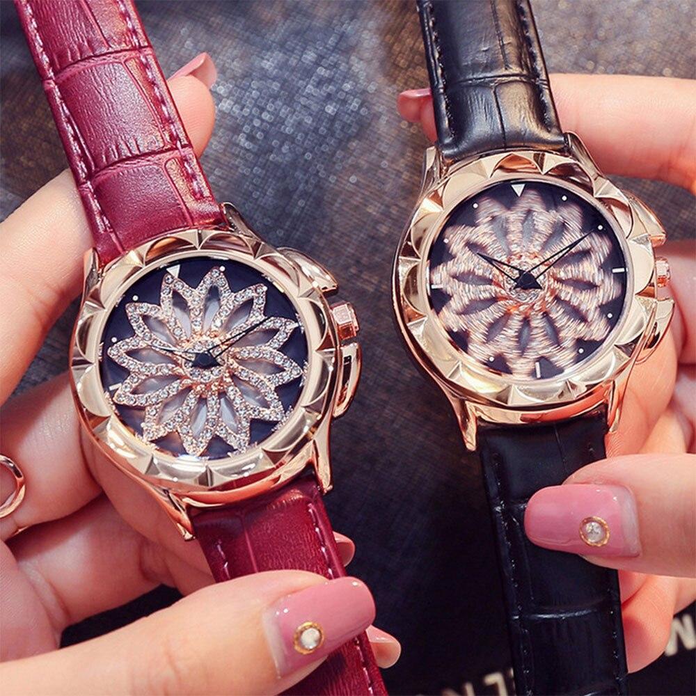 Brand Luxury Women Quartz Klockor Lady Shining Rotation Äkta Läder - Damklockor