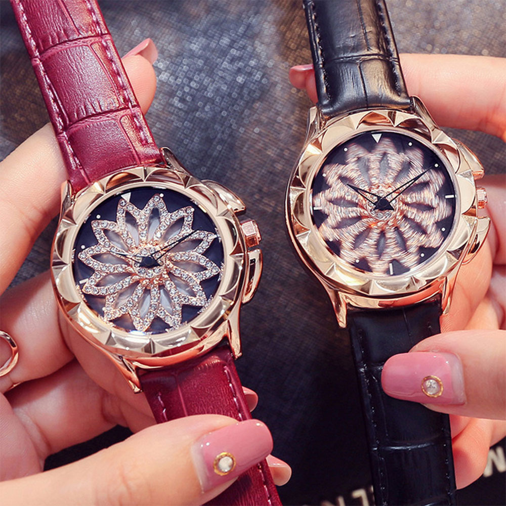 Brand luxury Women Quartz Watches Lady Shining Rotation Genuine Leather Dress Watch Girls Students Relojes Montre femme