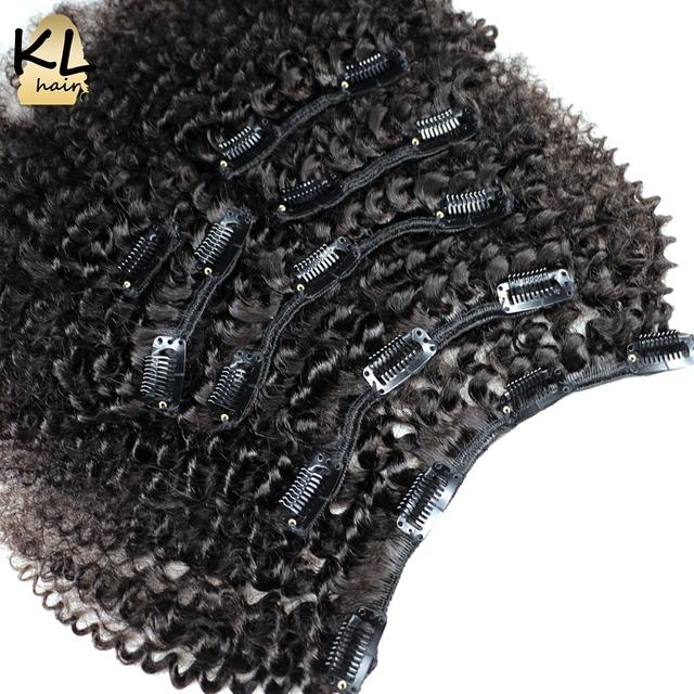 Clip En Extensiones de Cabello Humano Afroamericano Afro Rizado Clip en Extensiones de Cabello Brasileño de la Virgen Natural Clip Ins 8''-24