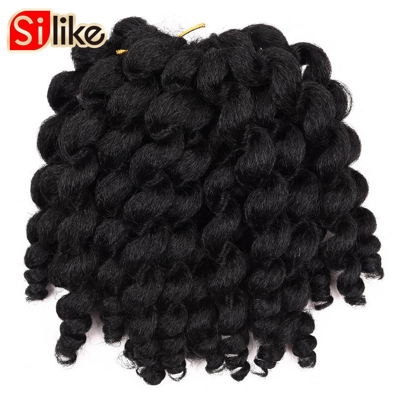 Silike Jumpy Wand Curl 8inch 80g Jamaican Bounce Crochet Hair 22 Roots African Synthetic Braiding Hår Lågtemperatur Fiber
