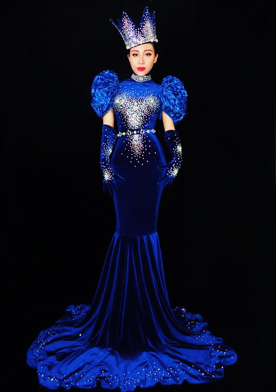 Fashion Blue Dress Sexy Long Train Birthday Dress Stage Costume Prom Evening Celebrate Tail Dresses Outfit Women Performance