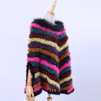 2018 New Women's Luxury Pullover Knitted Genuine Rabbit Fur Raccoon Fur Poncho Cape Scarf Knitted Wraps Shawl Triangle Amice