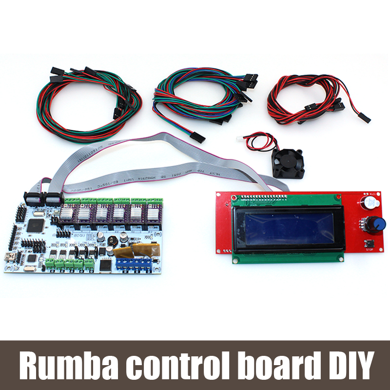 ФОТО BIQU Rumba control board DIY+cooler fan +LCD 2004 controller display +jumper wire +DRV8825 Stepper driver for reprap 3D printer
