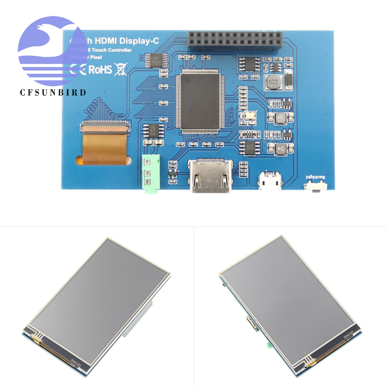 "Image 4 - 4.0"" Inch HDMI IPS LCD Monitor Screen Module Display with GPIO Resistive Touch Panel Audio Output for Raspberry Pi 4LCD Modules   -"