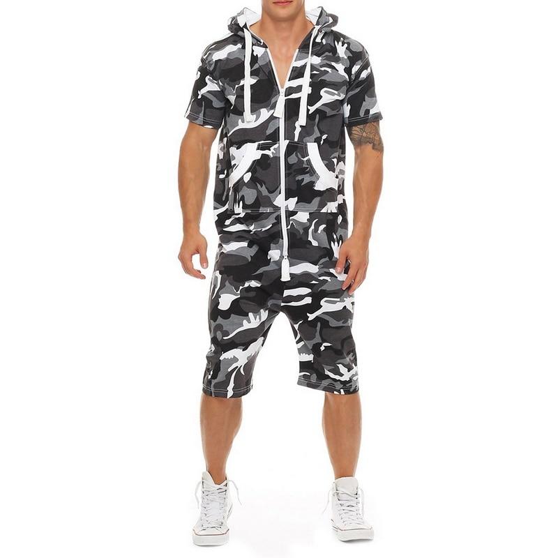100% Wahr 2019 Männer One Piece Sets Camo Gedruckt Trainingsanzug Sets Mode Männer Strampler Sommer Casual Overall Männer Camofluage Gedruckt Overalls