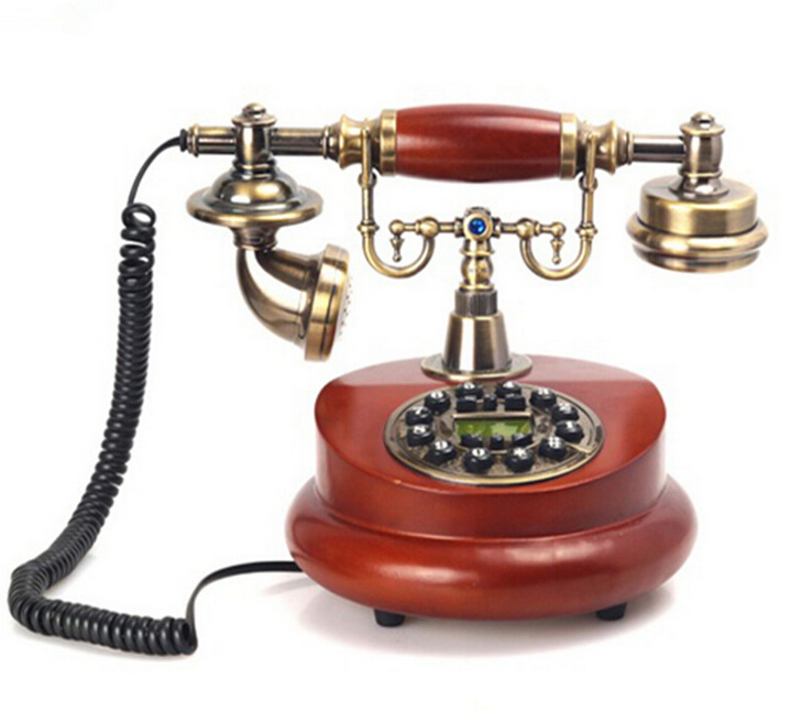Fashion Creative European Wood Telephone Landline Phone Blue Backlight Hands Free Caller ID