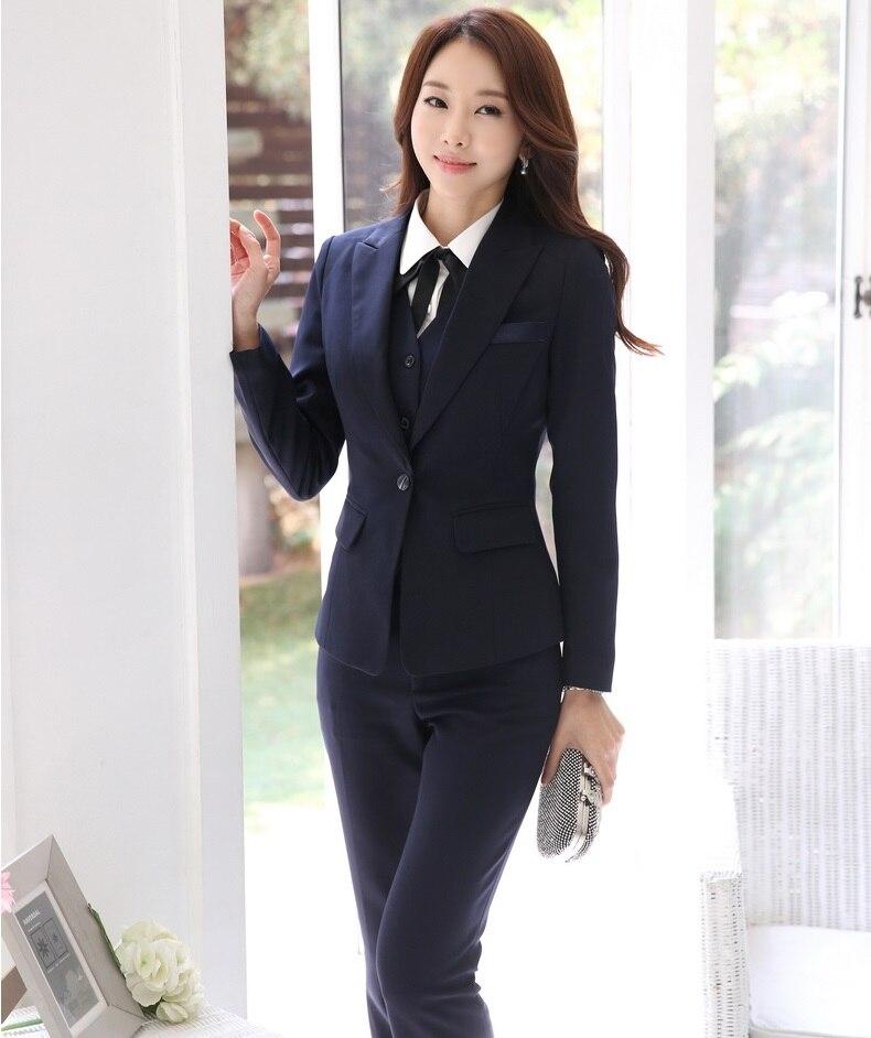 Chaquetas Uniformes Oficina Trajes Para Negocio Blazers Trabajo Blue  Chaleco Profesional Damas Dark Conjunto 3 Con Pantalones ... 46f276d79b1c
