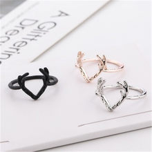 Korean Creative Ornaments Simple Gold Silver Color Sika Deer Antlers Rings for Women Fashion Jewelry Gifts Bijoux Bague Femme(China)