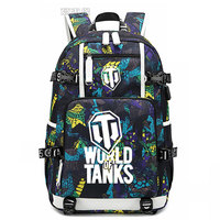 New World of Tanks Backpack laptop bag Men Travel bags USB Luminous Oxford Backpack schoolbag