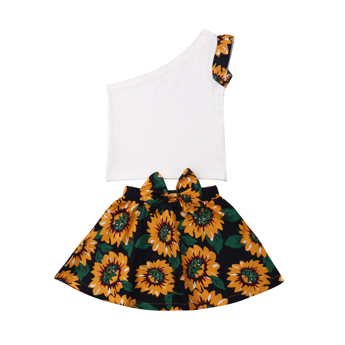 2019 New Summer Toddler Kid Baby Girl Sunflower Off-shoulder Clothes Sets T-Shirt Top+Tutu Skirt Outfits Set Wholesale Dropship(China)