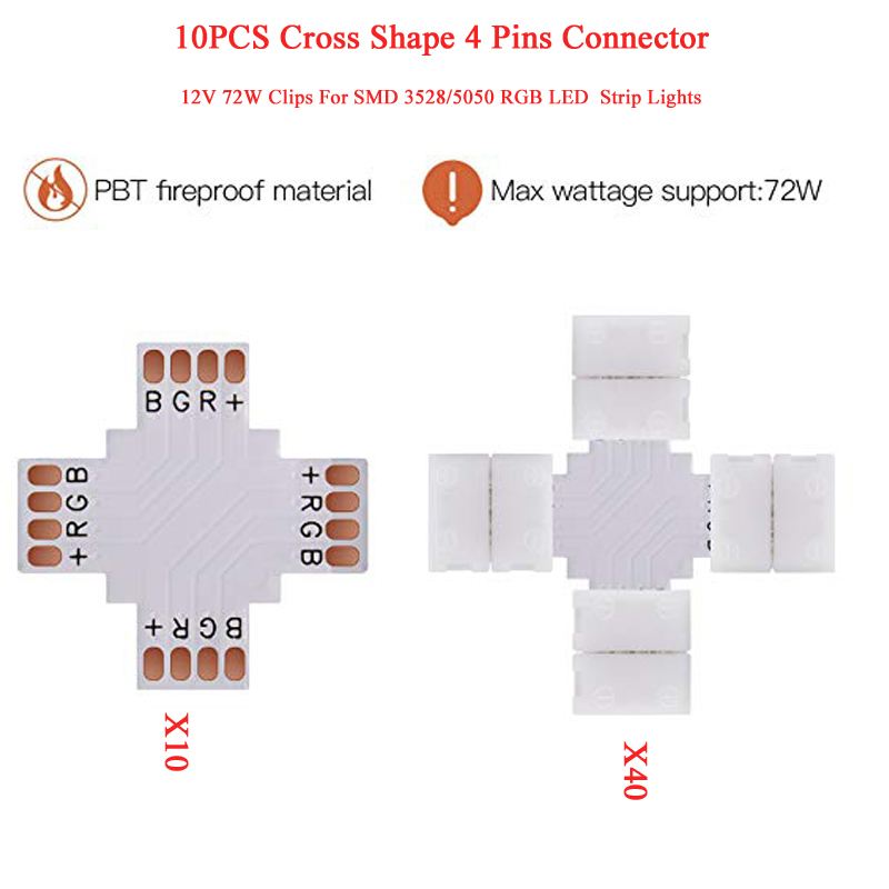 10 Cross Shape 4 Pins Connector 10mm Quick Splitter 12V 72W Clips 3528/5050 SMD RGB LED Flexible Strip Lights Corner Connector S