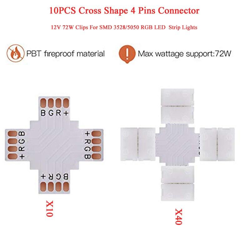 10 croix forme 4 broches connecteur 10mm séparateur rapide 12 V 72 W Clips 3528/5050 SMD RGB bande LED flexible lumières coin connecteur S