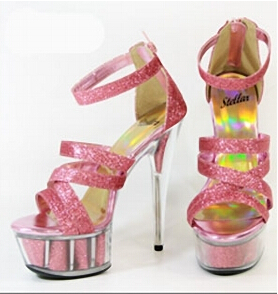 Glitter Crystal Shoes 15cm Ultra High Heels Sandals Silver / Pink Bride Wedding Shoes 6 Inch Platform Heels Ankle-Strap Sandals spikes heels and blue silver muliti colors mixed rhinestone ultra high heels wedding evening shoes with strap ankle