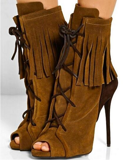 2016 Autumn Best Selling Top Quality Brown Suede Leather Lace Up Short Boots Open Toe Fringe Patchwork Tassel Ankle Women Boots fringe sleeve top