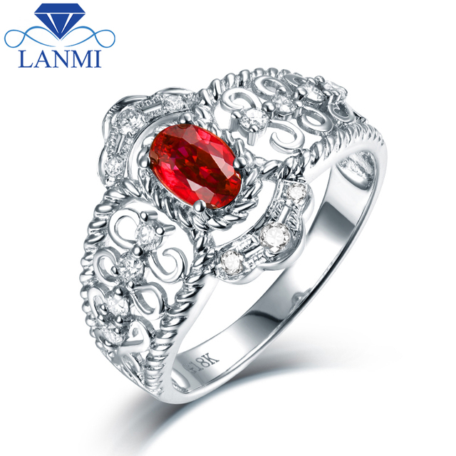 Luxury Design 14K White Gold Red Ruby Ring Natural Diamond for Women Anniversary Fine Jewelry Gift