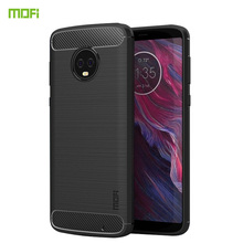 MOFi For Motorola Moto G6 Plus Case Cover Silicone Carbon Fiber Heavy ShockProof Full Protector Fitted Soft TPU Back
