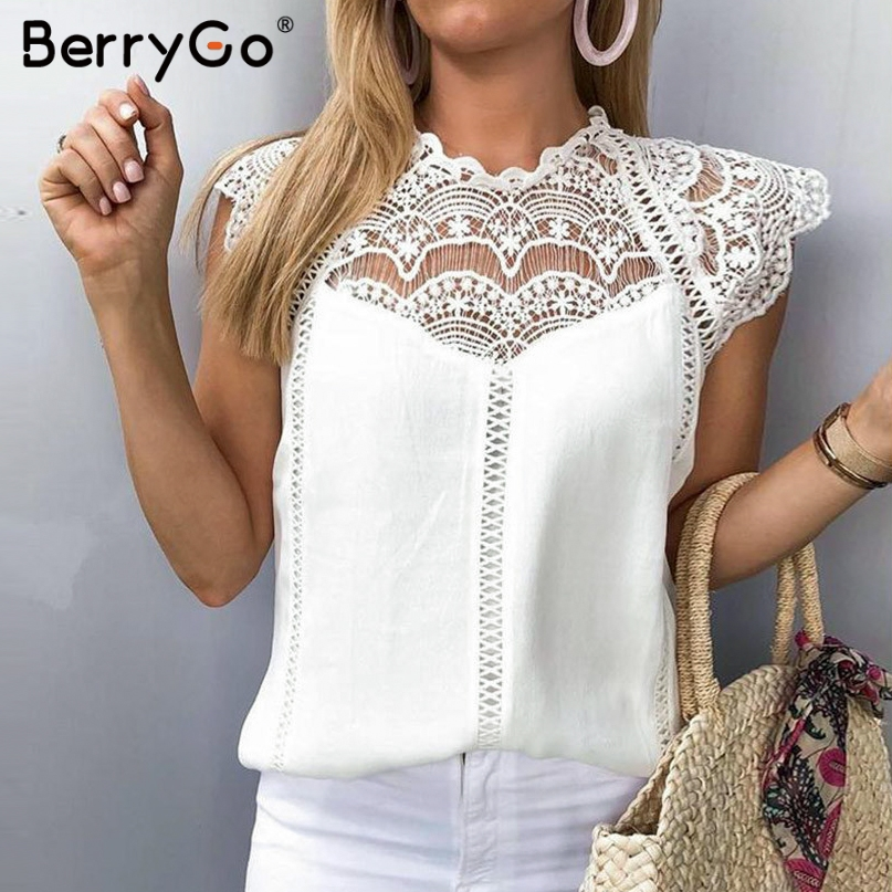BerryGo Elegant lace embroidery   tank   chiffon women camis   tops   Sexy sleeveless female summer   tank     tops   streetwear ladies   tops