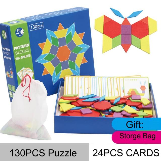 New IQ Brain Teaser Wooden Tangram Puzzle Kids Educational Logic Game Toys in Gift Box for Children
