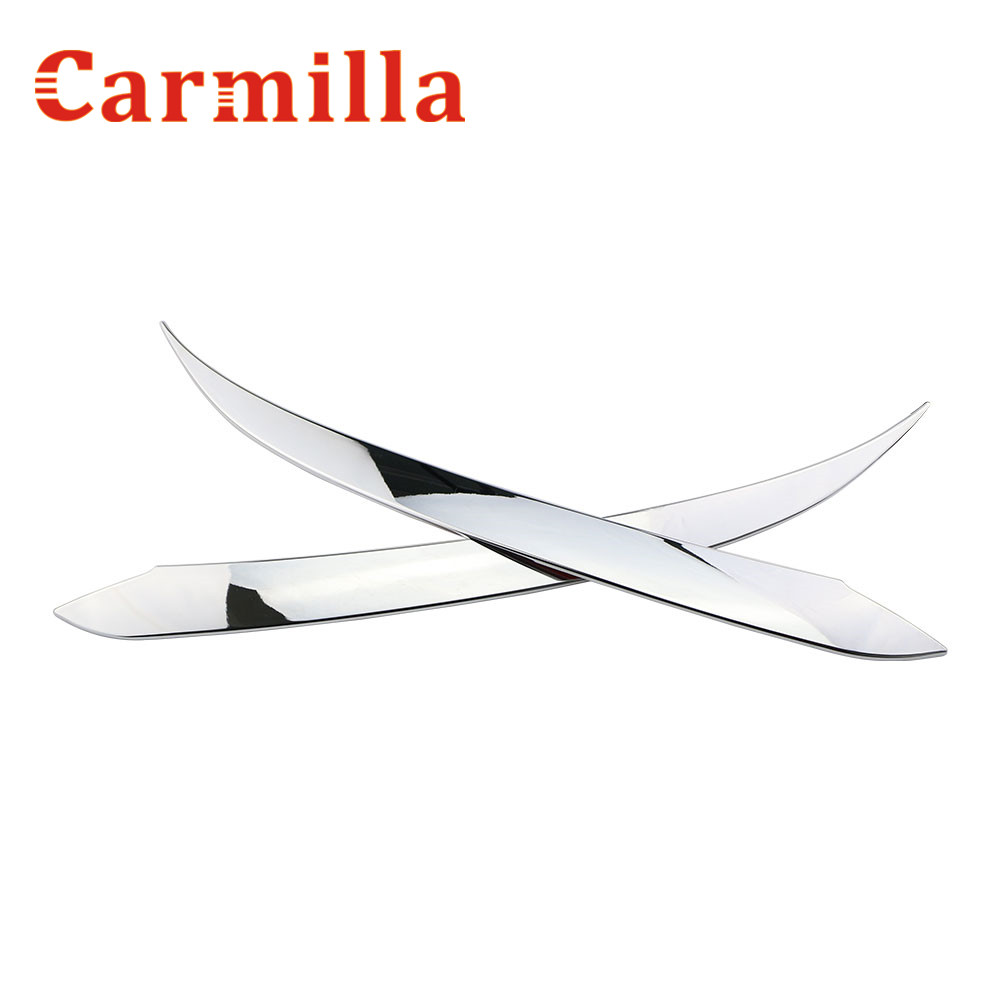 Carmilla 2X Car Front Lights Sports Mind ABS Chrome Decoration Strip Sticker for Hyundai Tucson 2015 2016 2017 Accessories