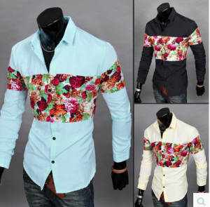 Floral-Shirt Button-Down Long-Sleeve Printing Fashion 6603 Splicing New-Products Men