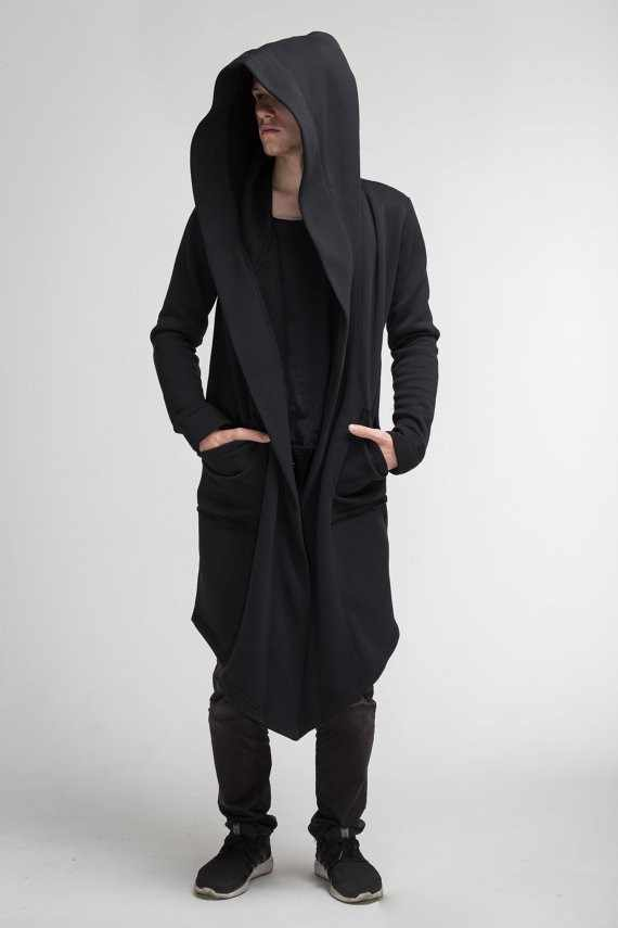 2018 herbst Neue männer Lange Mantel Hoodies Oberbekleidung Einfarbig Mit Kapuze Streetwear Männlichen Lose Lange Hoodies Sweatshirt Mantel