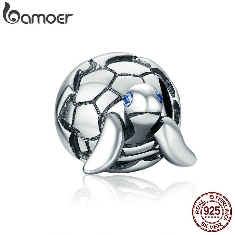 Bamoer design bonito 925 prata esterlina tartaruga reborn & clear cz contas caber charme pulseiras & pulseiras jóias diy scc192