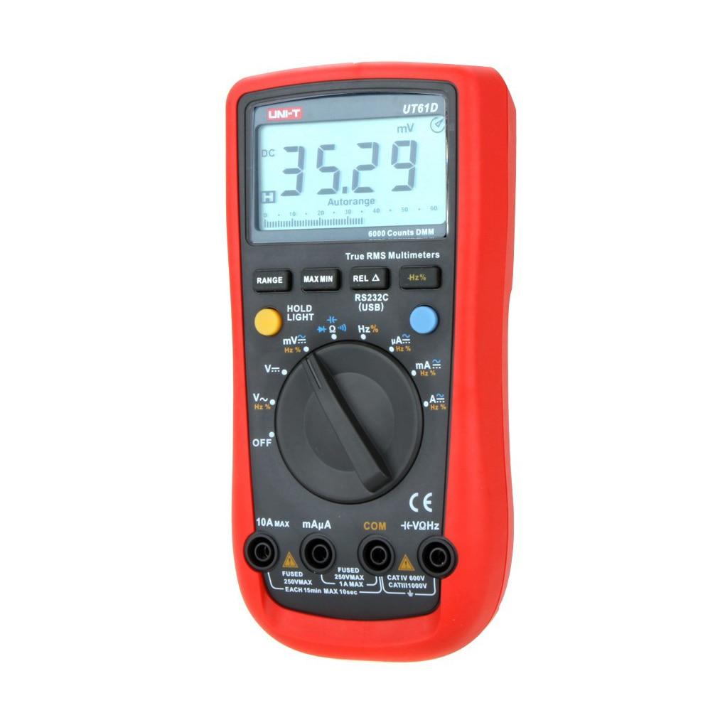 UNI-T UT61D RMS Digital Multimeter Auto Range AC/DC V/A Ohm Digital Multimeter мультиметр uni t uni t ut71b alicate amperimetro ac dc