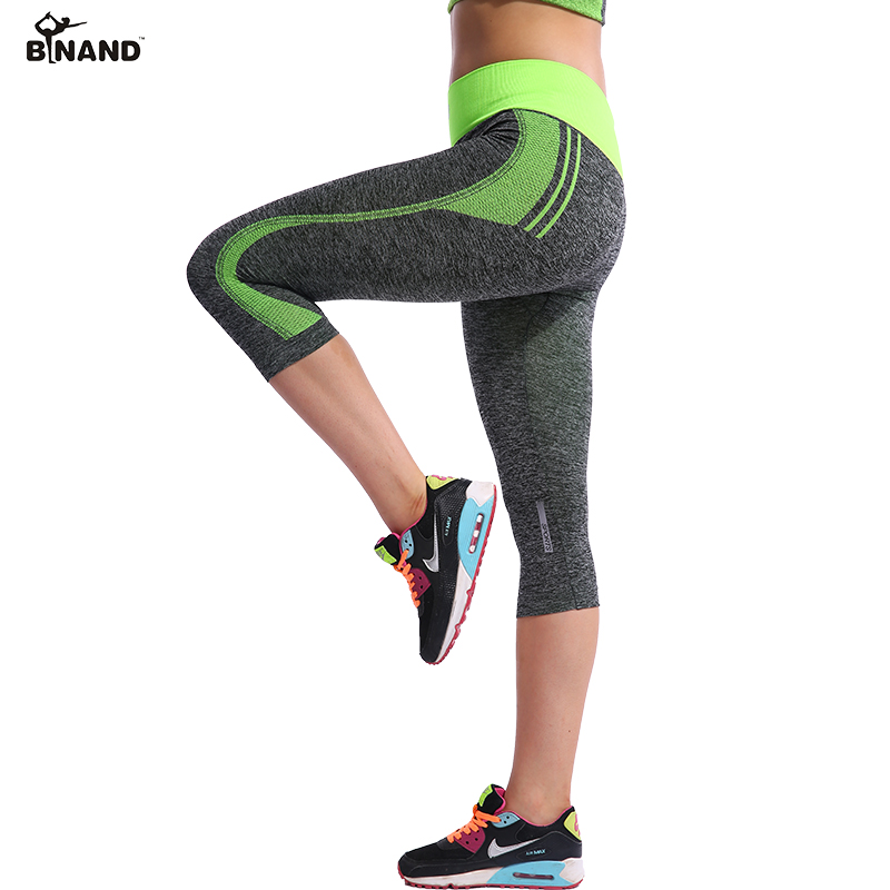 BINAND Women High Elastic Capri Tights Running 3/4 Length Fitness Yoga Pants Gym Exercise Quick Dry Stretch Sports Trousers все цены